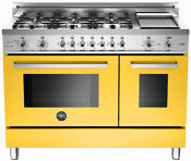 Bertazzoni Professional Series 48 Gas Range Pro486gdfsgi Yellow Natural Or Lp
