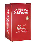 Nostalgia Coca Cola 3 2 Cubic Foot Refrigerator With Freezer Compartment Rrf