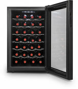 Black Auto Defrost Efficient 28 Bottle Thermoelectric Wine Cooler Refrigerator