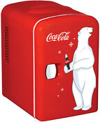Mini Refrigerator Coca Cola Koolatron Desktop Electric 6 Can Fridge Retro Cooler