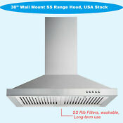 30 Modern Kitchen Range Hood Cook Stove Fan Wall Mount Stainless Steel Led 85w