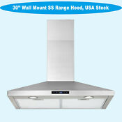 New Thin 30 Wall Mount Range Hood Stainless Steel Lcd Touch Mute Touch Clock