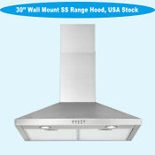 New Thin 30 Inch Wall Mount Range Hood Stainless Steel Push Button Led Light