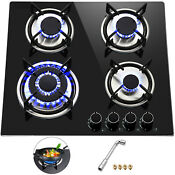 Tempered Glass 4 Burners Stove Gas Cooktop Iron Grates Lpg Lng Gas St Steel