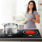 Electric Dual Digital Induction Cooker Crystal Panel Cooktop 2400w Countertop