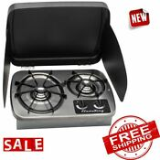 Stove Gas Cooktop Propane Kitchen Home 2 Burner Rv Outdoor Hike Camping Cooking
