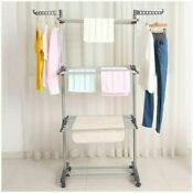 Bigzzia Clothes Drying Rack 3 Tier Collapsible Rolling Stainless