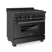 36 Black Stainless 6 Gas Burner Electric Oven Range