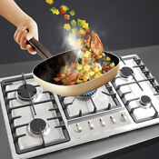 Stainless Steel Natural Gas Built In Cooktop Countertop Cook Stove 5 Burners Us