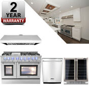 Dual Fuel 48 Range Thor Kitchen Hrd4803u Double Oven Appliance Package