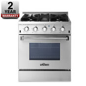 30 Gas Range 4 Burners W Gridldle Stainless Steel Thor Kitchen Cooker Stove