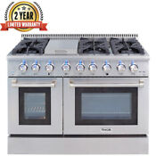 Thor Kitchen Dual Fuel 48 Inch 6 Burner Gas Range Double Electric Oven Hrd4803u
