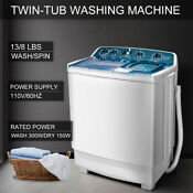 21 Lbs Semi Automatic Mini Washing Machine Compact Twin Tub Spiner Laundry White
