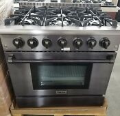 New Out Of Box Thor 36 Black Stainless Range 6 Burners Blue Interior Oven