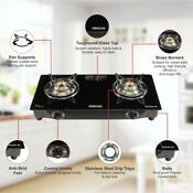 Inalsa Dazzle Glass Top 2 Burner Gas Stove With Rust Proof Powder Coated Body
