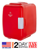 Red 4l Compact Cooler Warmer Mini Fridge W Ac Dc Usb Power Multiple Uses