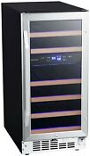 Edgestar Cwr263dz 15 W 26 Bottle Built In Dual Zone Wine Cooler Stainless