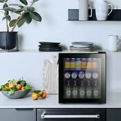1 6 Inch Beverage Cooler And Refrigerator 60 Can Mini Fridge With Glass Door