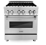 Zline 30 4 0 Cu Ft Dual Fuel Range W Gas Stove And Electric Oven Ra 30