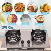 28 Kitchen Gas Stovetop 2 Burners Stainless Steel Propane Lpg Gas Cooktop 4 2kw