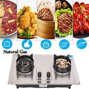 2 Burners Gas Cooker Stove 28 Stainless Steel Natural Gas Kitchen Gas Cooktop