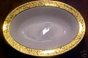 Royal Worcester Gold Feather Open Oval Vegetable