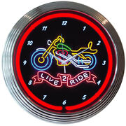 Live 2 Ride Motorcycle Neon Clock Sign Garage Wall Lamp Light Chopper Softail