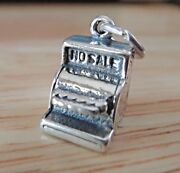 Sterling Silver 3d 14x9x10mm Old Fashioned Cash Register Charm