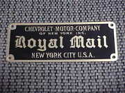 Chevrolet Royal Mail Small Body Plate 1914 Acid Etched Brass
