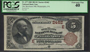 5 1882=bb=merchants Ntl Bank Of Philadelphia Pa=pcgs Extremely Fine 40