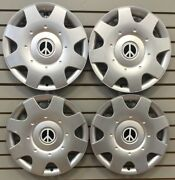 New 1998-2009 Vw Beetle Bug 16 White Peace Sign Hubcaps Wheelcover Set