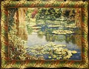European Woven Beige Tapestry Wall Hanging Andndash French Andldquolake Givernyandrdquo Andndash 66 X 89