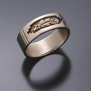 14k Gold Eagle Feather Silver Ring By Erick Begay