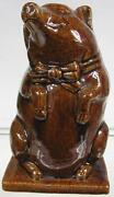 Real Nice Antique 1850's Red Ware Cute Pig Piggy Bank