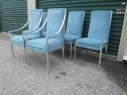 Set Of 6 Milo Baughman Solid Aluminum Mid-century Modern Ding Chairs 60's 70's