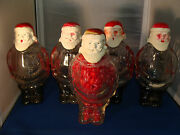 Lot Of 5 Vintage J. H. Millstein Santa Claus Glass Containers Jeannette Pa