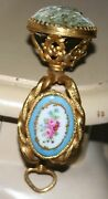 Rare Antique French Pin Cushion Clamp Hand Painted Porcelain Plaque C1800
