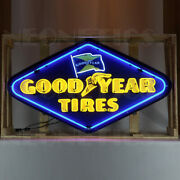 Big Neon Sign Goodyear Tires In Steel Can Good Year Rubber Akron Ohio Wall Lamp
