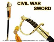 Full Size 39 Civil War Csa Confederate Cavalry Officer Sword Saber Gold C.s.a.