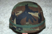 Us Army Issue Pasgt Helmet With Woodland Camo Cover - Medium