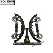 Brand New Black Fire Dual Blades Fantasy Dragon Knives Sword Dagger With Stand
