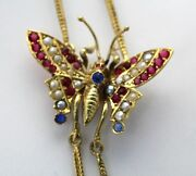 Victorian 14k Gold Butterfly Mitten/muff Chain W/ruby/sapphire/mabe Pearl X Long