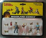 Woodland Scenics Figures O Scale A2768 People And Pets Train People Wds2768 New