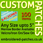 100 Custom Embroidered Patches/badges - Best Quality - Merrow Border - Any Size