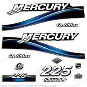 2005 Mercury Blue 225hp Saltwater Optimax Outboard Engine Decals Reproductions