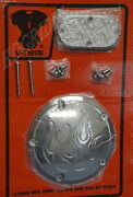 Harley Flame Derby Inspection Cover Dyna Wide Glide Softail Fatboy Heritage Fxst