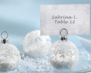 144 White Winter Snowflake Glass Ornament Place Card Photo Holder Wedding Favor