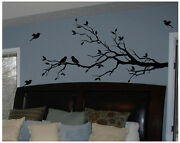 Tree Branch With 10 Birds In Black Wall Decal Deco Art Sticker Mural