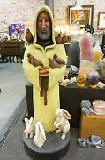 One-of-a-kind 5 Ft. Tall Wood Carving Of Saint Francis With Animals