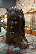 One-of-a-kind 32 Tall Ironwood Carving Indian Chief And Eagle Over 150 Pounds